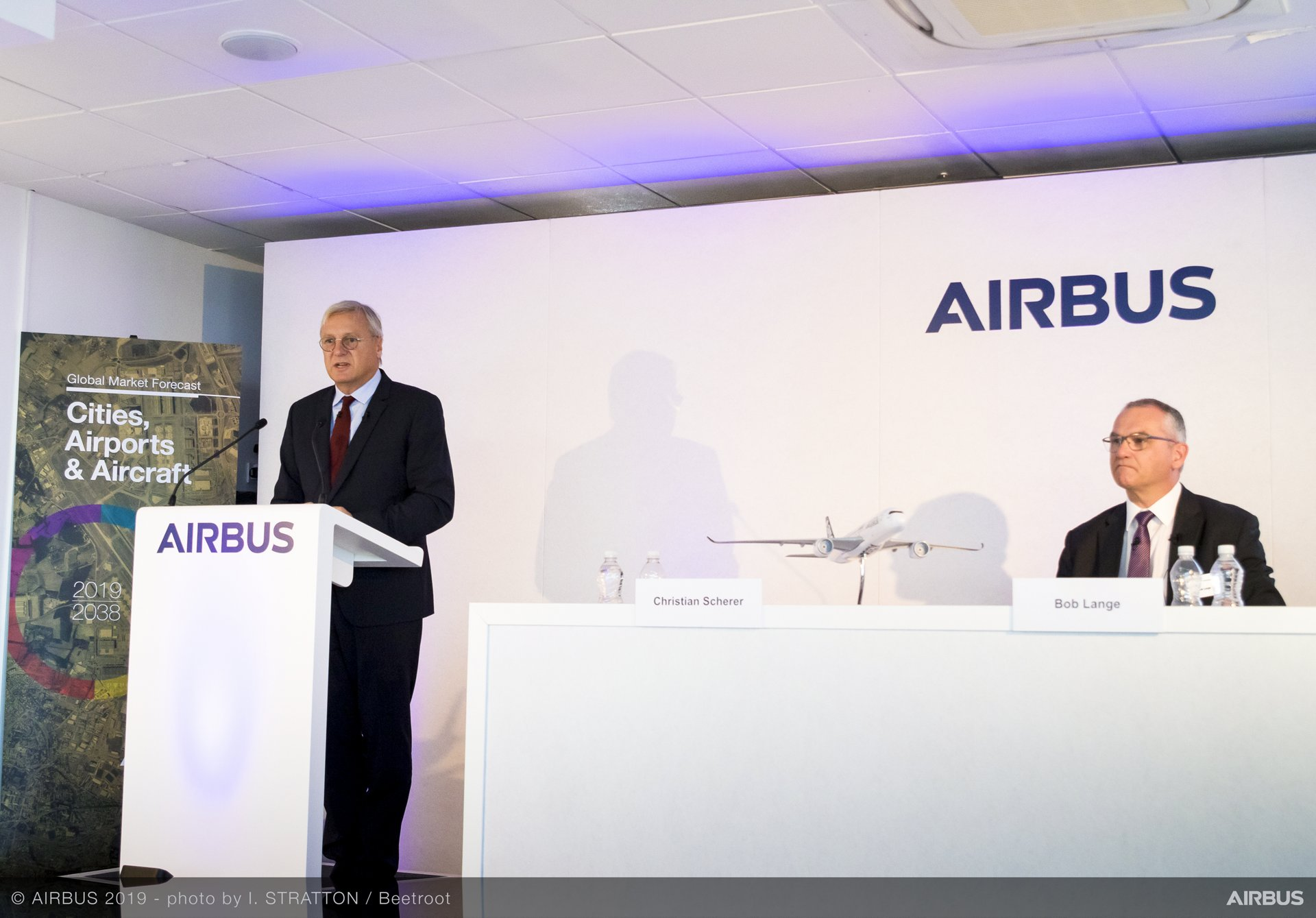 Representing Airbus at the company's Global Market Forecast 2019-2038 press event was (from left to right): Chief Commercial Officer Christian Scherer and Bob Lange, Senior Vice President, Business Analysis Market Forecast