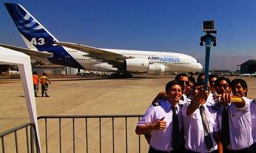 FIDAE 2014 Day 4 – A380 selfie
