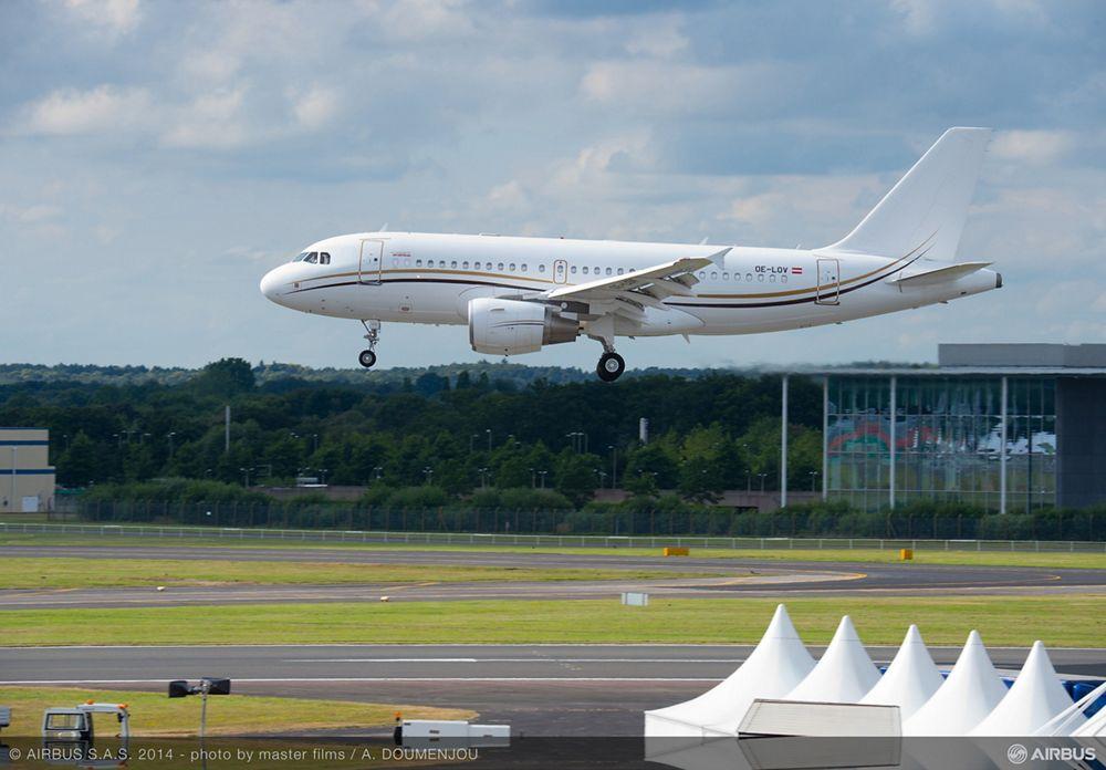 Tyrolean Jet Services ACJ319 lands