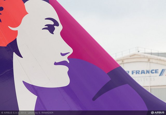 A glimpse of Airbus presence on day 4 at the Paris Air Show.  Arrival of Hawaiian A330 in le Bourget, tail close up.