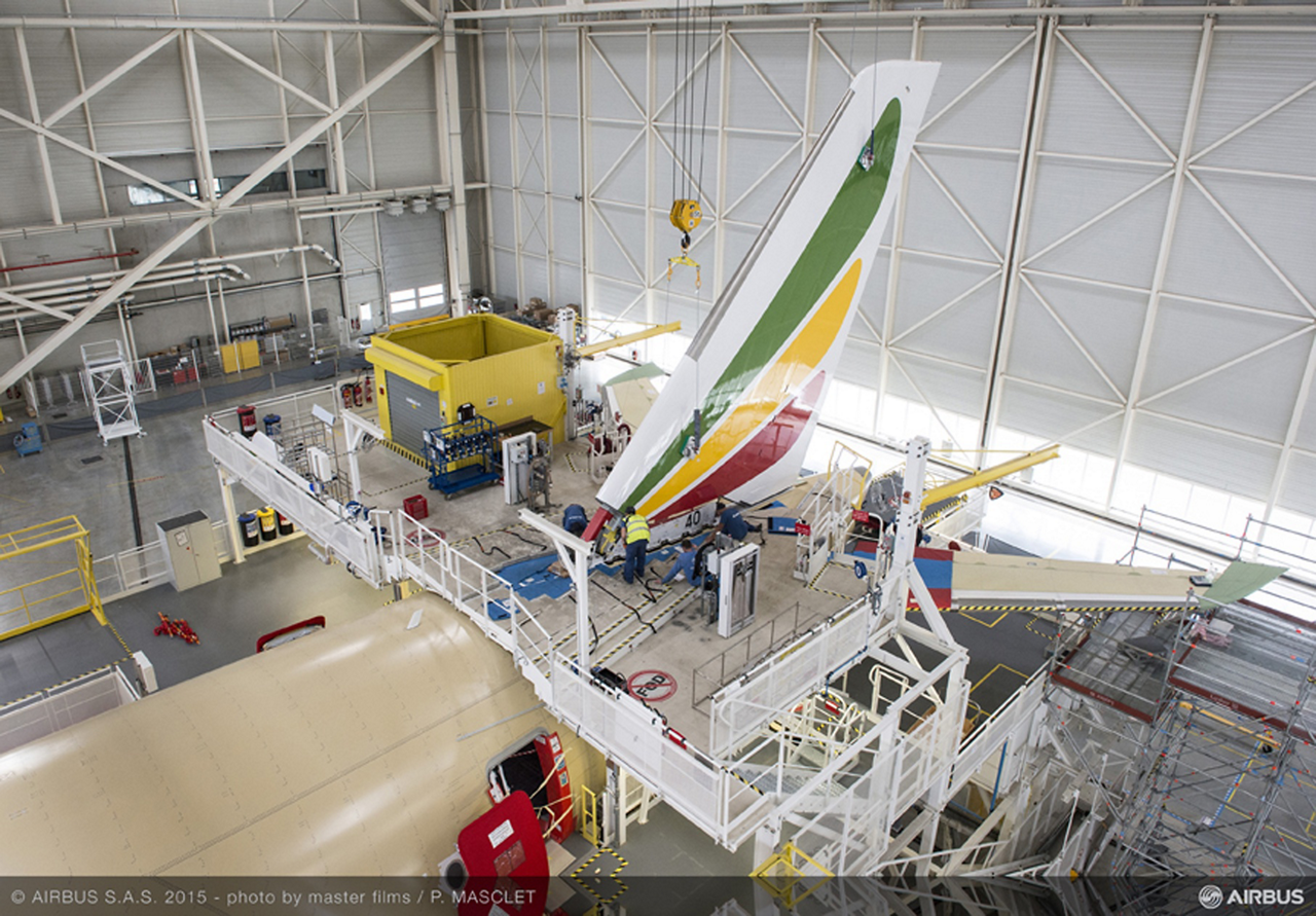 At Airbus' Toulouse, France final assembly line, mating of various fuselage sections, connection of the vertical stabilizer, as well as joining of the wings and horizontal stabilizers – in parallel with cabin interior installation and first electrical power-on – has begun for the no. 1 A350 XWB jetliner to be operated by Ethiopian Airlines. The aircraft is one of 14 A350 XWB jetliners that will be acquired by the carrier, and is to be operated on lease from AerCa