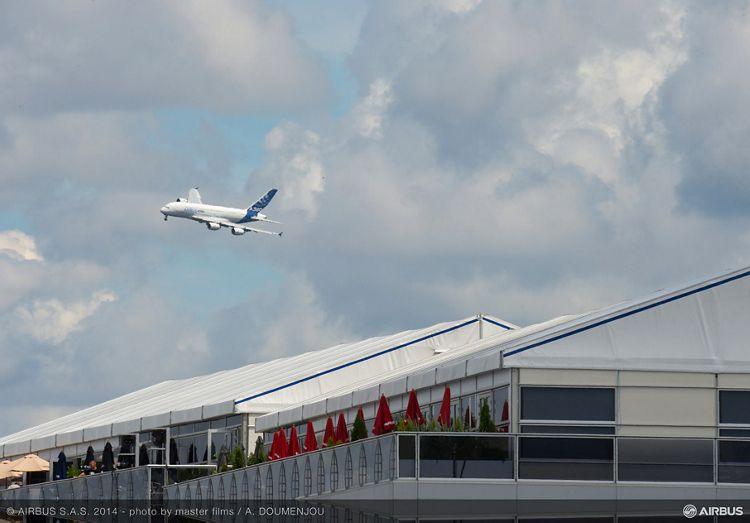 A380 MSN1 approaching Farnborough airshow-13 July 2014