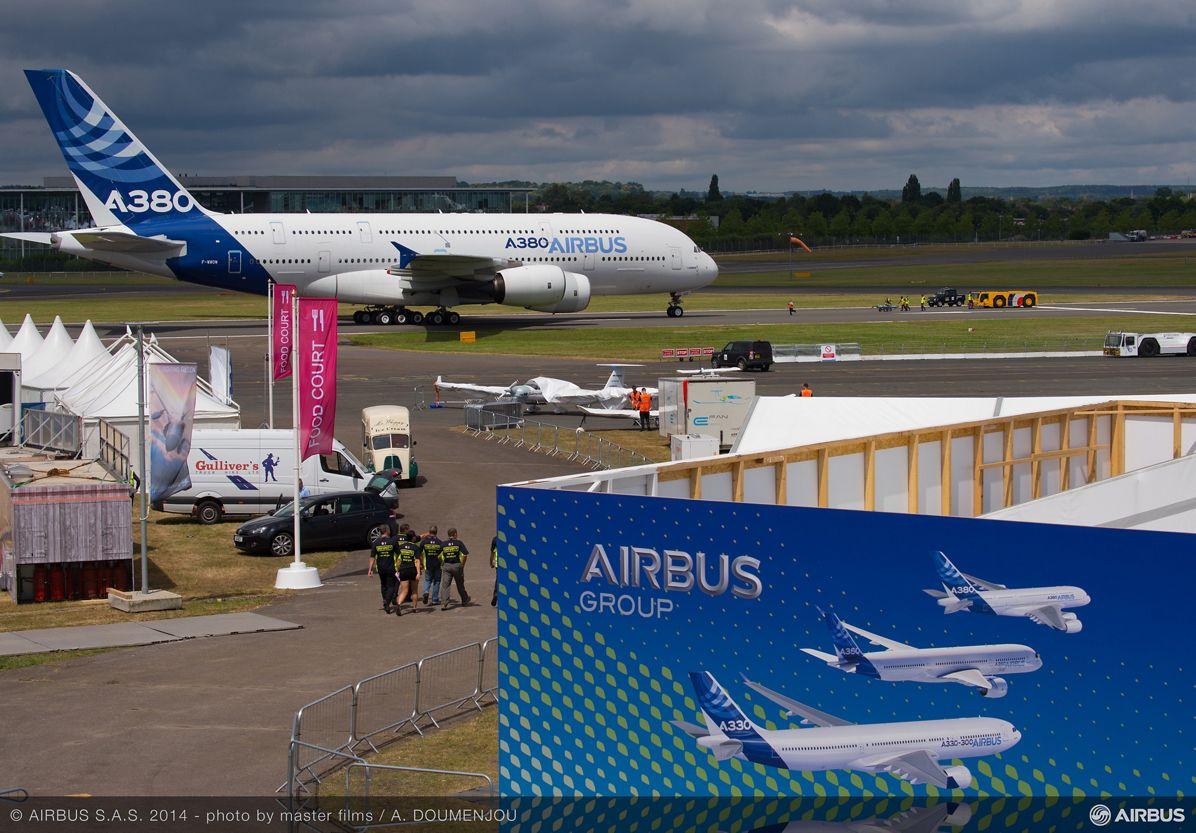 A380 MSN1 at Farnborough airshow-13 July 2014
