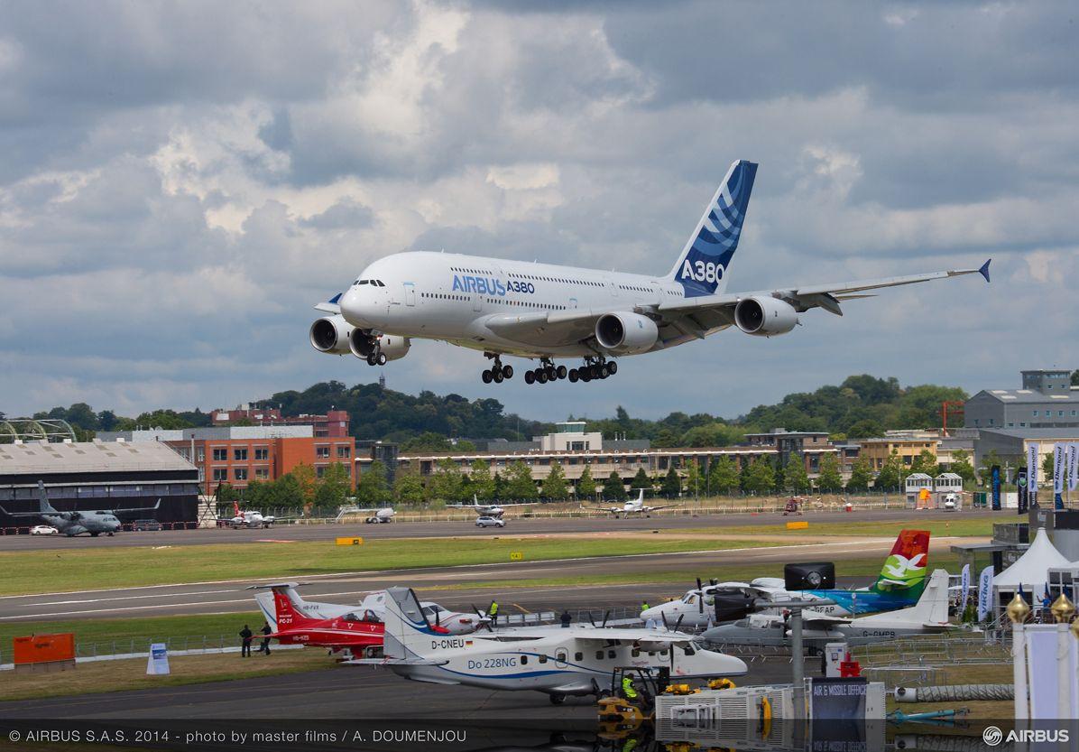 A380 MSN1 landing at Farnborough airshow-13 July 2014