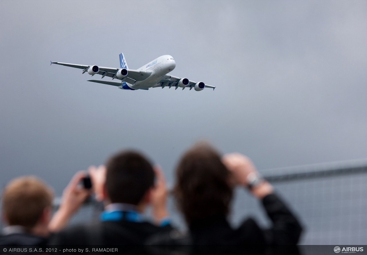 The A380 is performing its daily flight demo.
