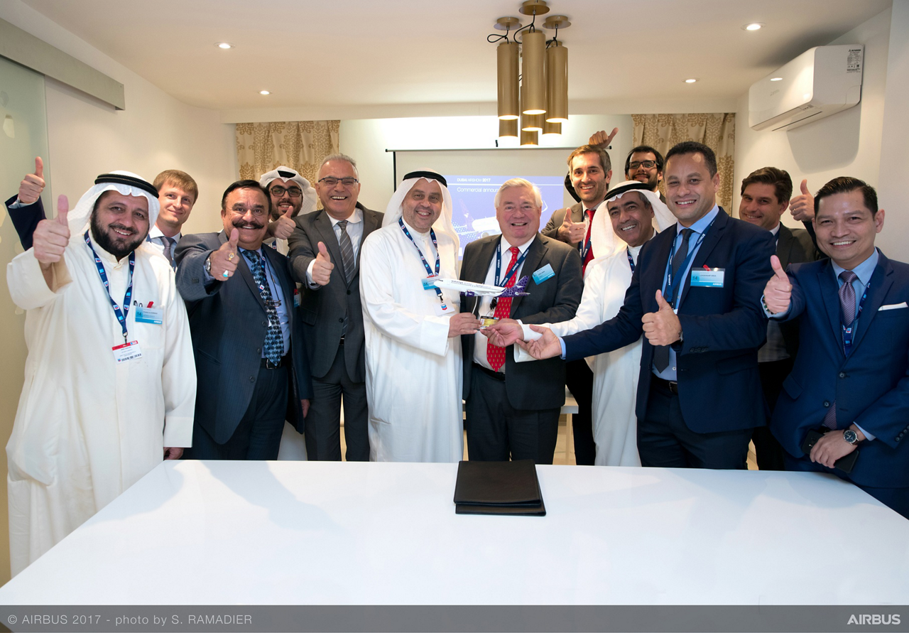 Golden Falcon Aviation, the exclusive aircraft provider of Wataniya Airways, signed a Memorandum of Understanding for 25 Airbus A320neo Family aircraft at the Dubai Airshow. Included in this group photo are Dr. Hamad Al-Tuwaijri, Chairman of Golden Falcon Aviation; John Leahy, Chief Operating Officer Customers, Airbus Commercial Aircraft; and Ali Al Fouzan, Chairman of Wataniya Airways