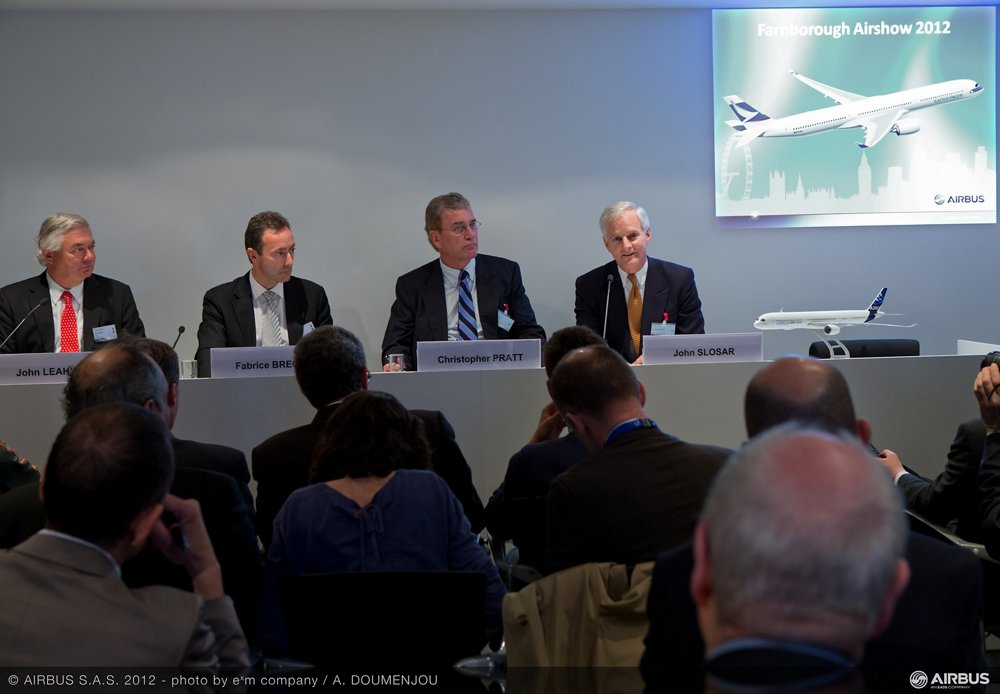 Cathay Pacific Airways' agreement with Airbus to purchase 10 A350-1000 commercial aircraft was announced at the 2012 Farnborough Airshow.