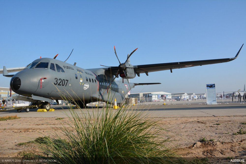 An on-ground photo of an Airbus C295 transport aircraft operated by the Chilean government.