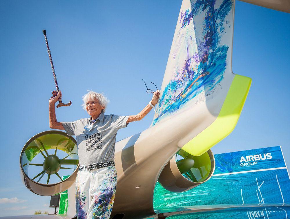 Paris Le Bourget air show 2015, Gerard Economos in front of Airbus's E-Fan 2.0 mock-up