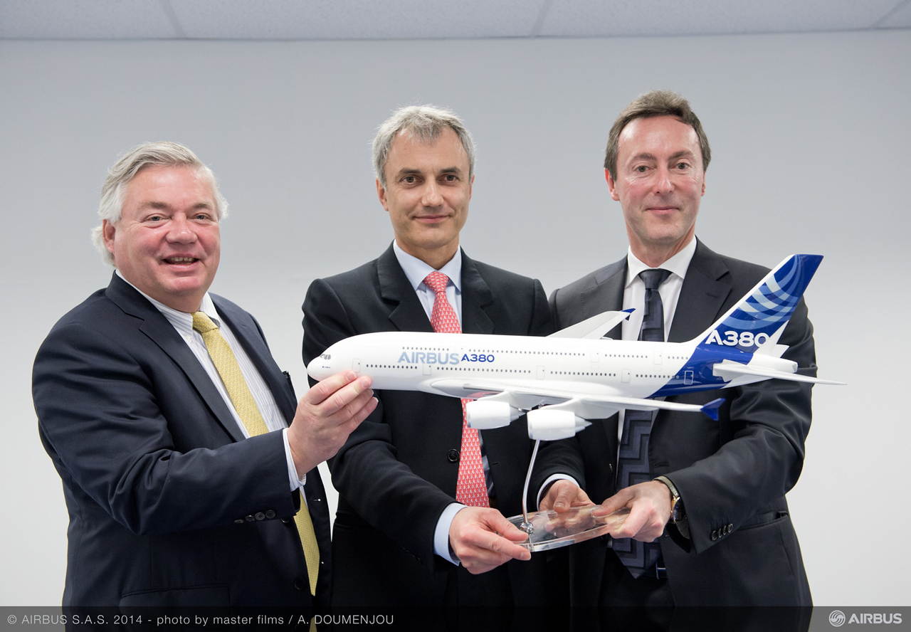 Amedeo (previously Doric Lease Corp) and Airbus have finalised the contract for 20 A380s originally announced at the 50th Le Bourget Airshow on 17th June 2013. The final agreement was signed today at the Singapore Airshow 2014 by Mark Lapidus, CEO of Amedeo and John Leahy, Airbus Chief Operating Officer, Customers.