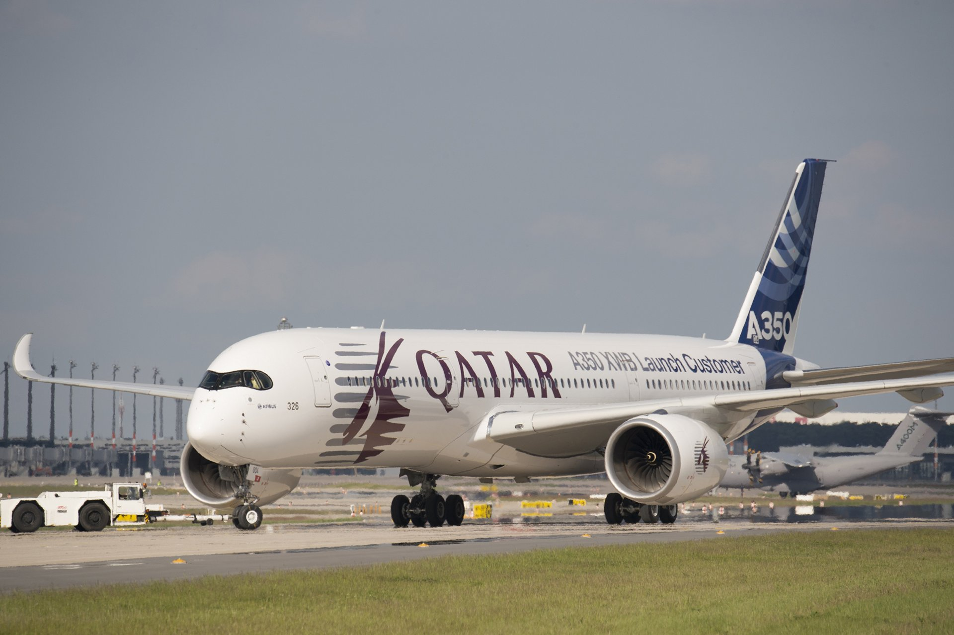 The Qatar A350 arrived at ILA Airshow in the afternoon of May 19.