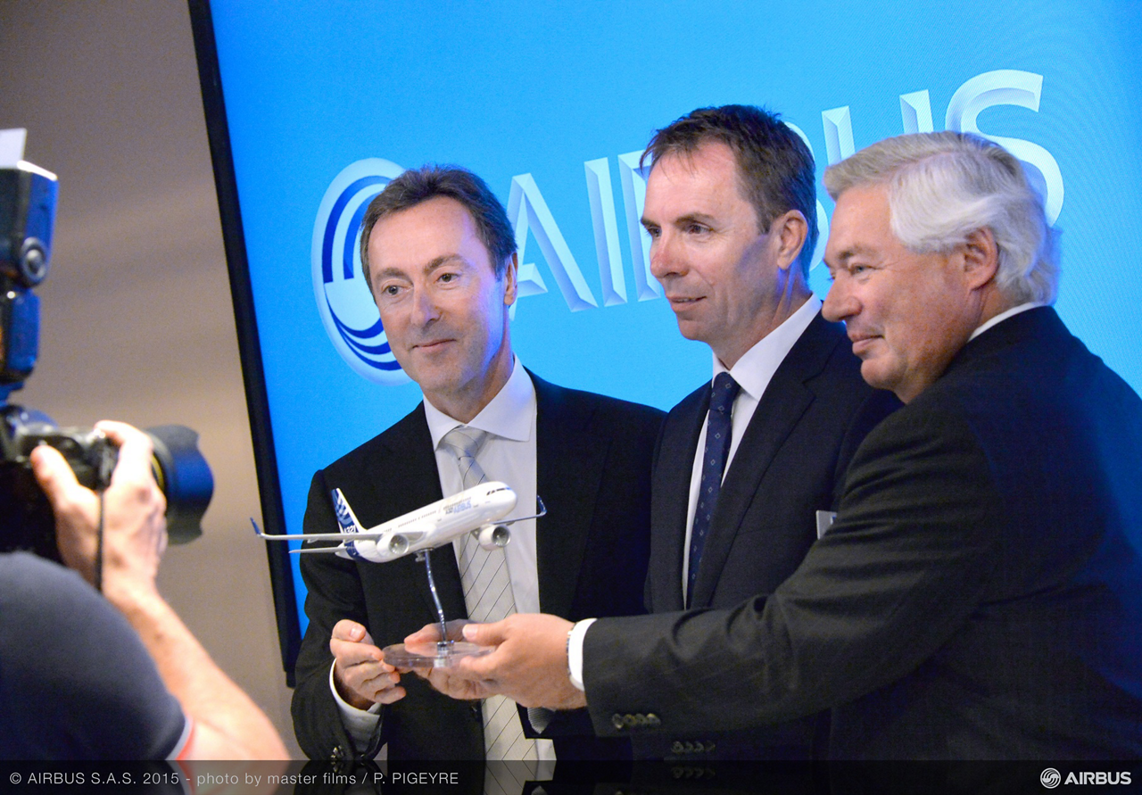 Wizz Air's Memorandum of Understanding signed at the 2015 Paris Air Show marked the largest single order for Airbus' popular A321neo. Marking the agreement from left to right are: Airbus President and CEO Fabrice Brégier, Wizz Air CEO Jozsef Varadi and Airbus COO – Customers John Leahy -
