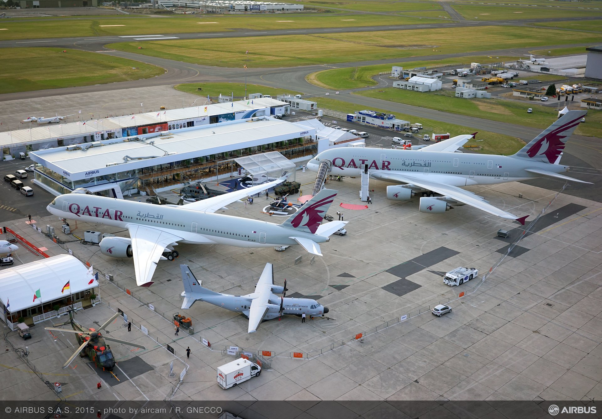 PAS 2015 static display aerial view A350 XWB A380 QTR