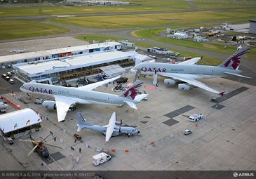 PAS 2015 static display aerial view A350 XWB A380 QTR
