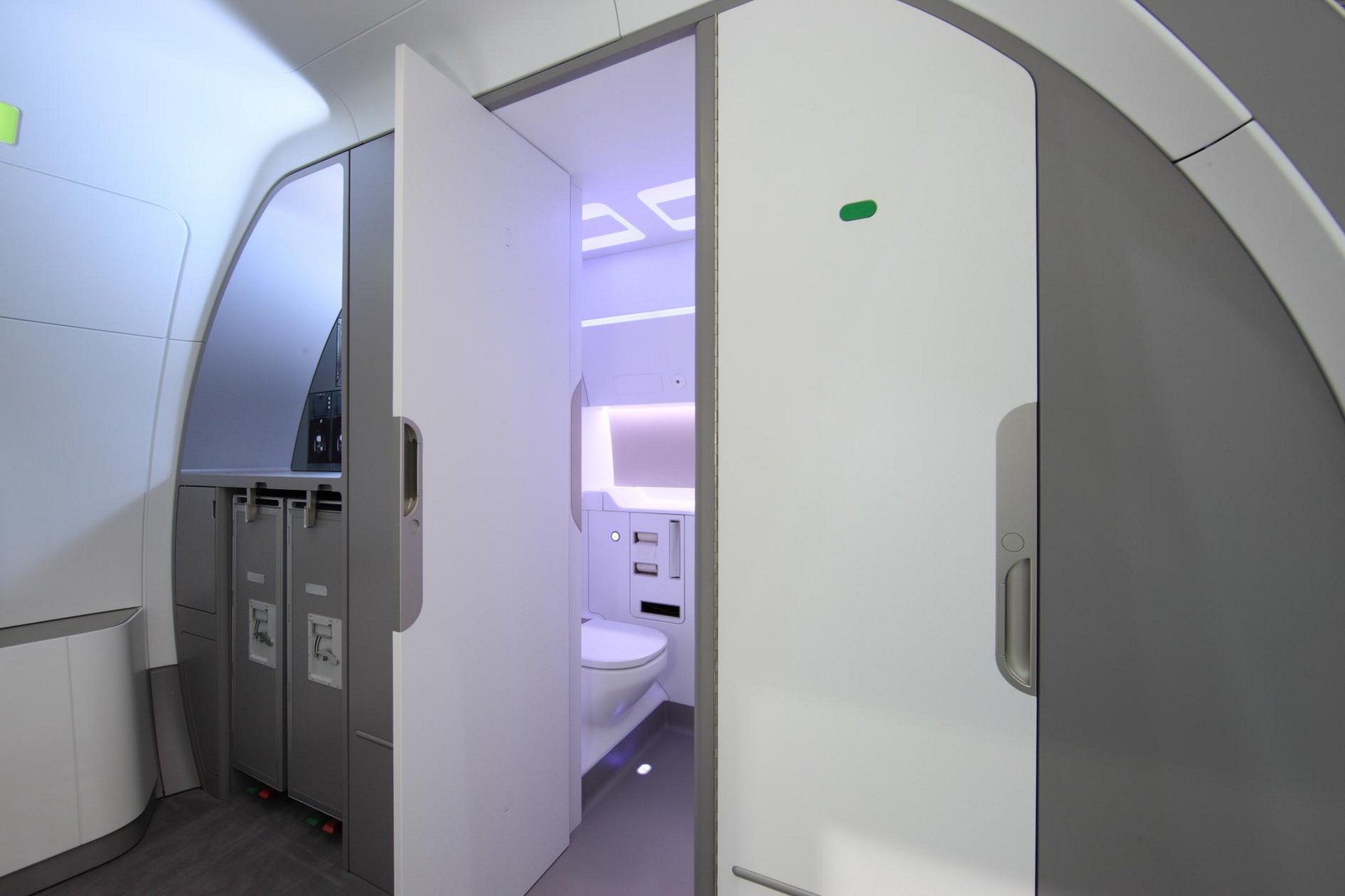The new Space-Flex rear lavatory and galley concept, which was unveiled by Airbus at the 2011 Aircraft Interiors Expo, offers the possibility to free up space for additional seats on A320 Family jetliners (5 April 2011)