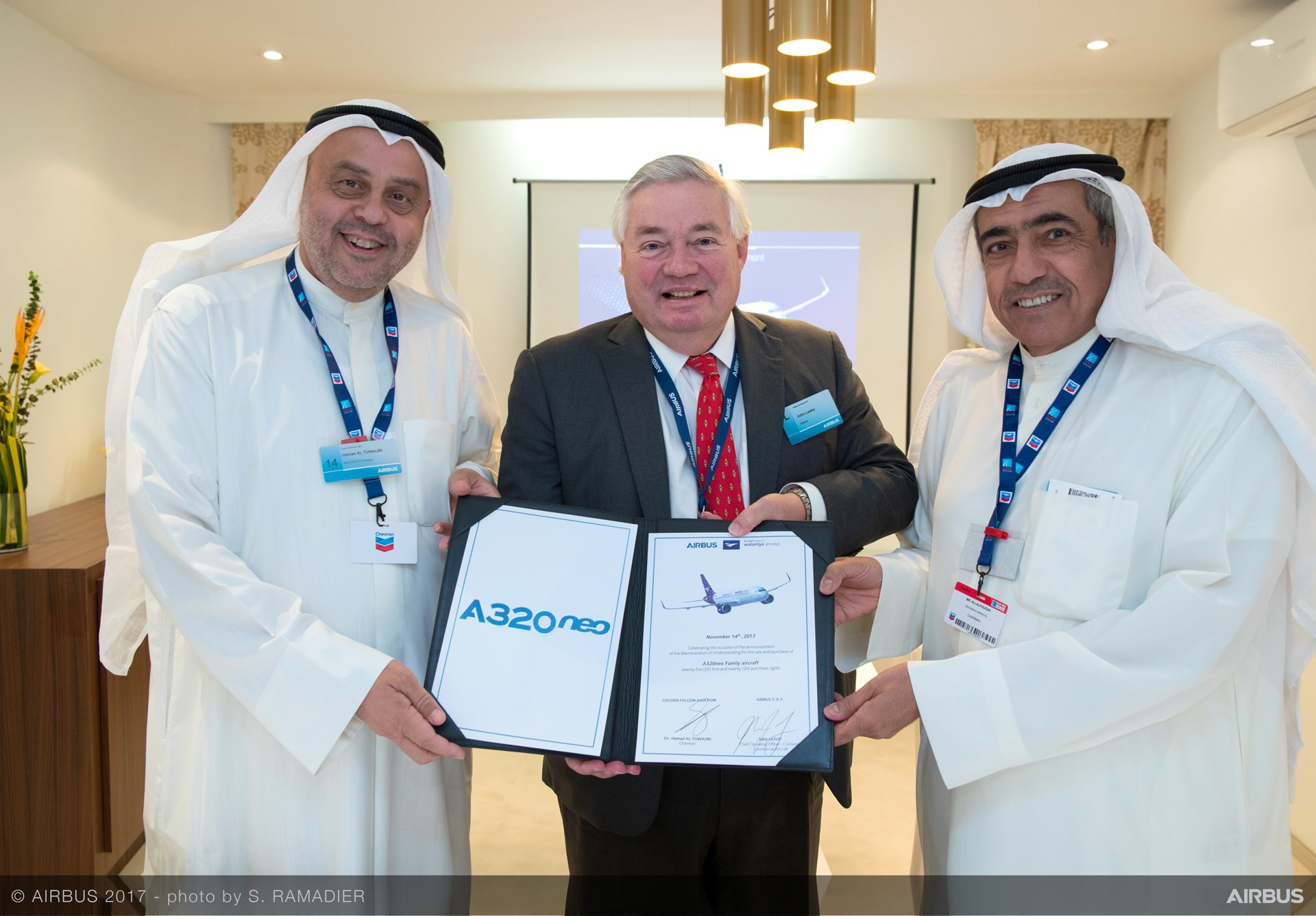 The A320neo Family will contribute to Wataniya Airways' strategic vision to become the fastest growing and leading airline in the Kuwait. From left to right: Dr. Hamad Al-Tuwaijri, Chairman of Golden Falcon Aviation; John Leahy, Chief Operating Officer Customers, Airbus Commercial Aircraft; and Ali Al Fouzan, Chairman of Wataniya Airways