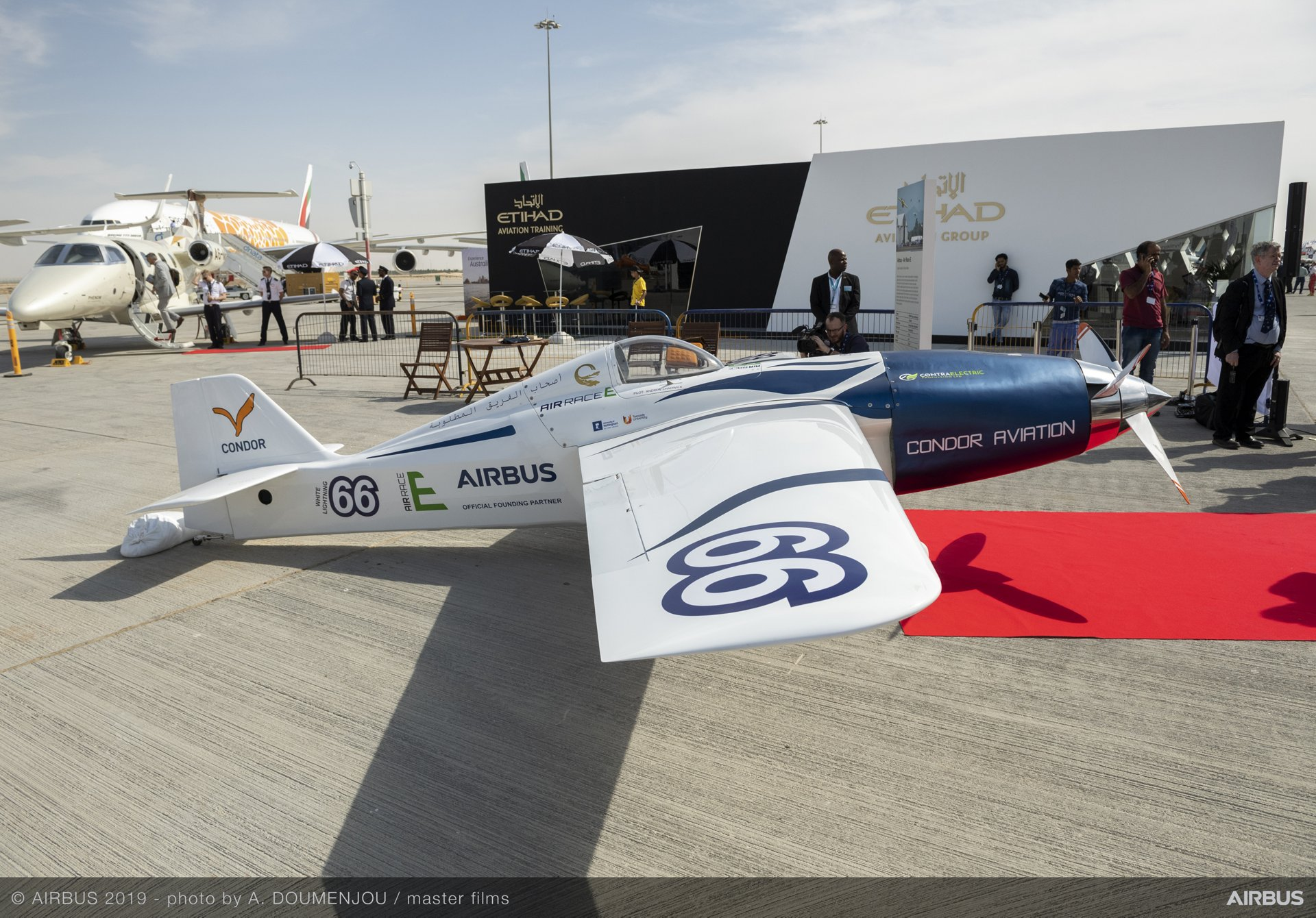 Team Condor Aviation e-racer model for Air Race E on static display – Dubai Airshow 2019