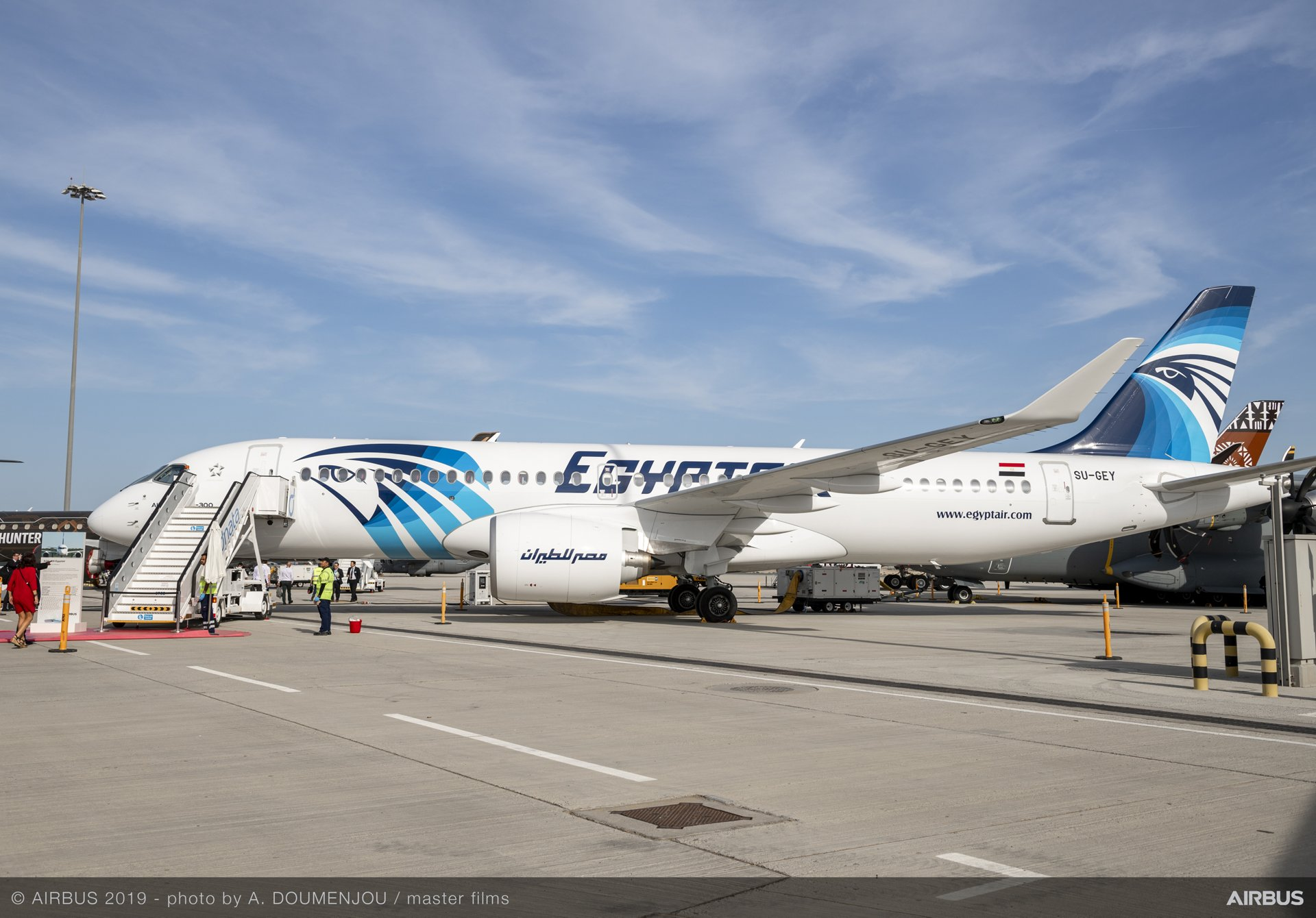 An A220-300 for EGYPTAIR 鈥� which became the first A220 operator based in the Middle East and North African region earlier this year 鈥� is among the AG真人计划 commercial aircraft on static display at the 2019 Dubai Airshow
