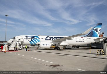 A220-300 Egyptair on ground at Dubai Airshow 2019