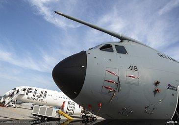 A400M RAF and A350-900 Fiji on ground - Dubai Airshow 2019 Day 1
