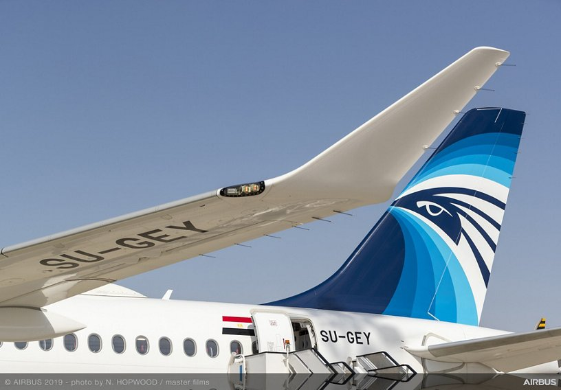 EGYPTAIR A220 in static display area 鈥� Dubai Airshow 2019