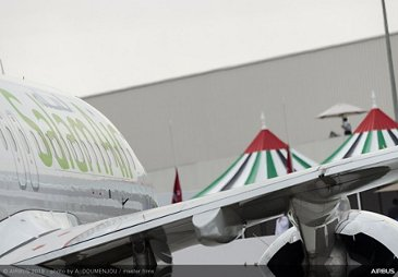 SalamAir A320neo static display 鈥� Dubai Airshow 2019