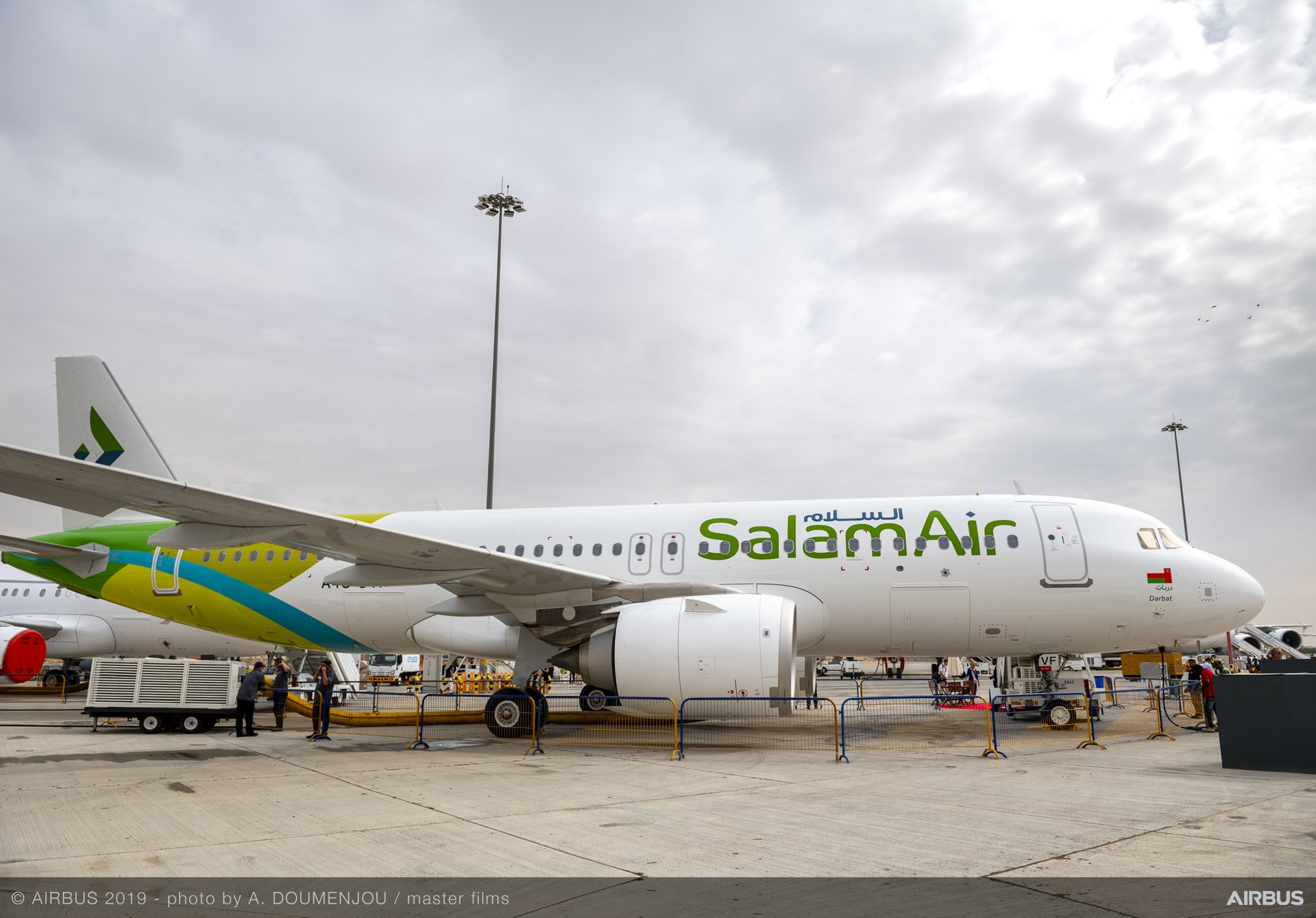 The Dubai Airshow's static display area included the presence of a highly-efficient A320neo operated by Oman-based SalamAir