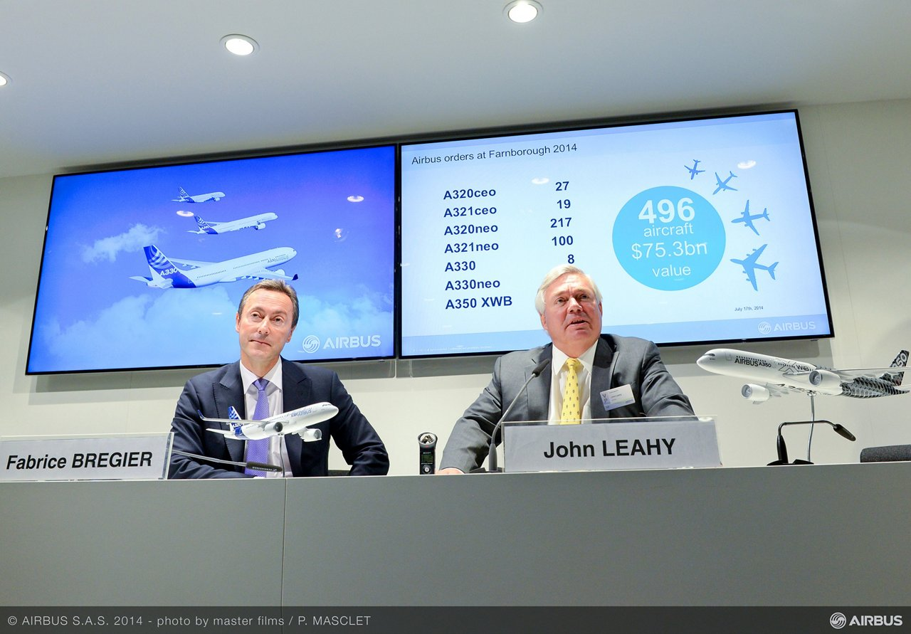 During Airbus' wrap-up press conference, Chief Operating Officer, Customers John Leahy noted the strong demand for the newly launched A330neo (new engine option) jetliner, which received 121 commitments worth $33.2 billion at list prices, based on announcements during the Farnborough Airshow
