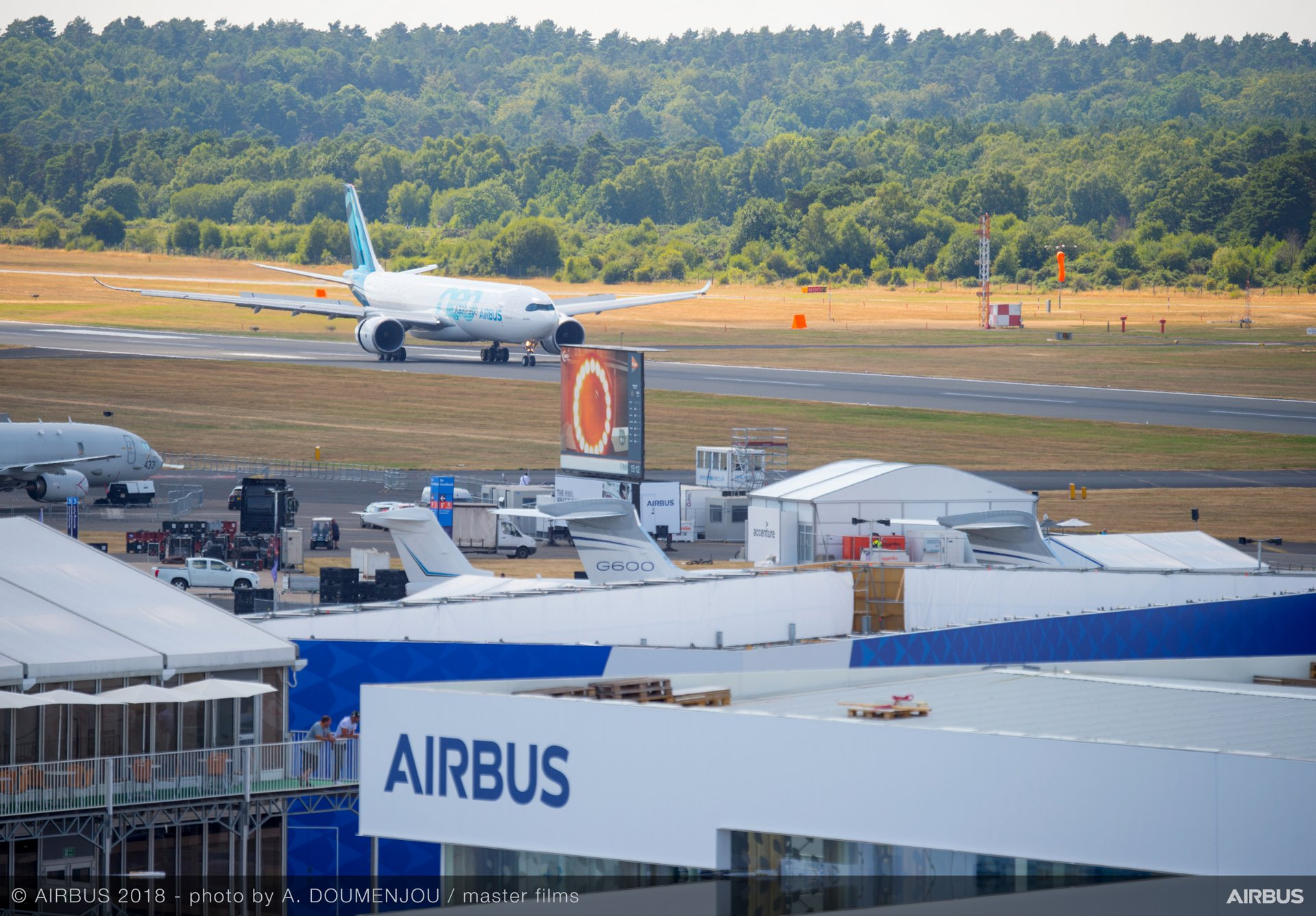 Airbus flies high during the 2018 Farnborough Airshow's opening day