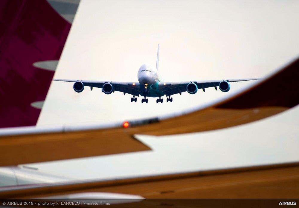 A380 Hifly Landing - FIA2018 - Day 04