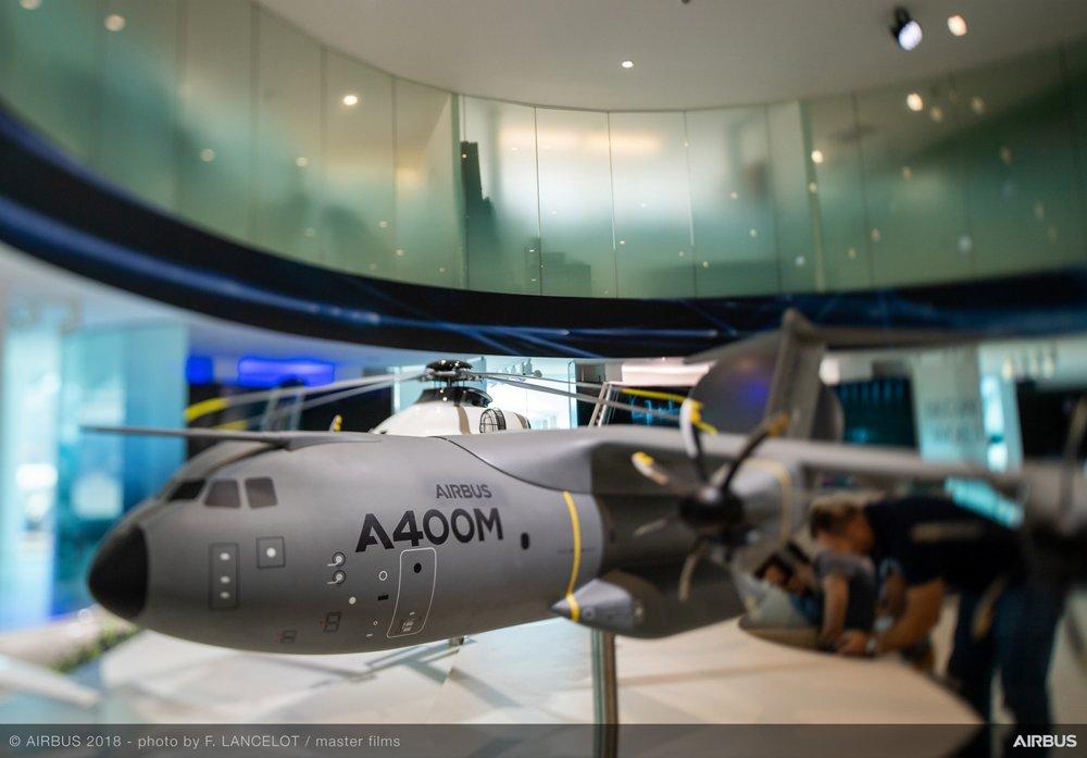 A400M model  Farnborough Airshow 2018 – Airbus exhibit stand