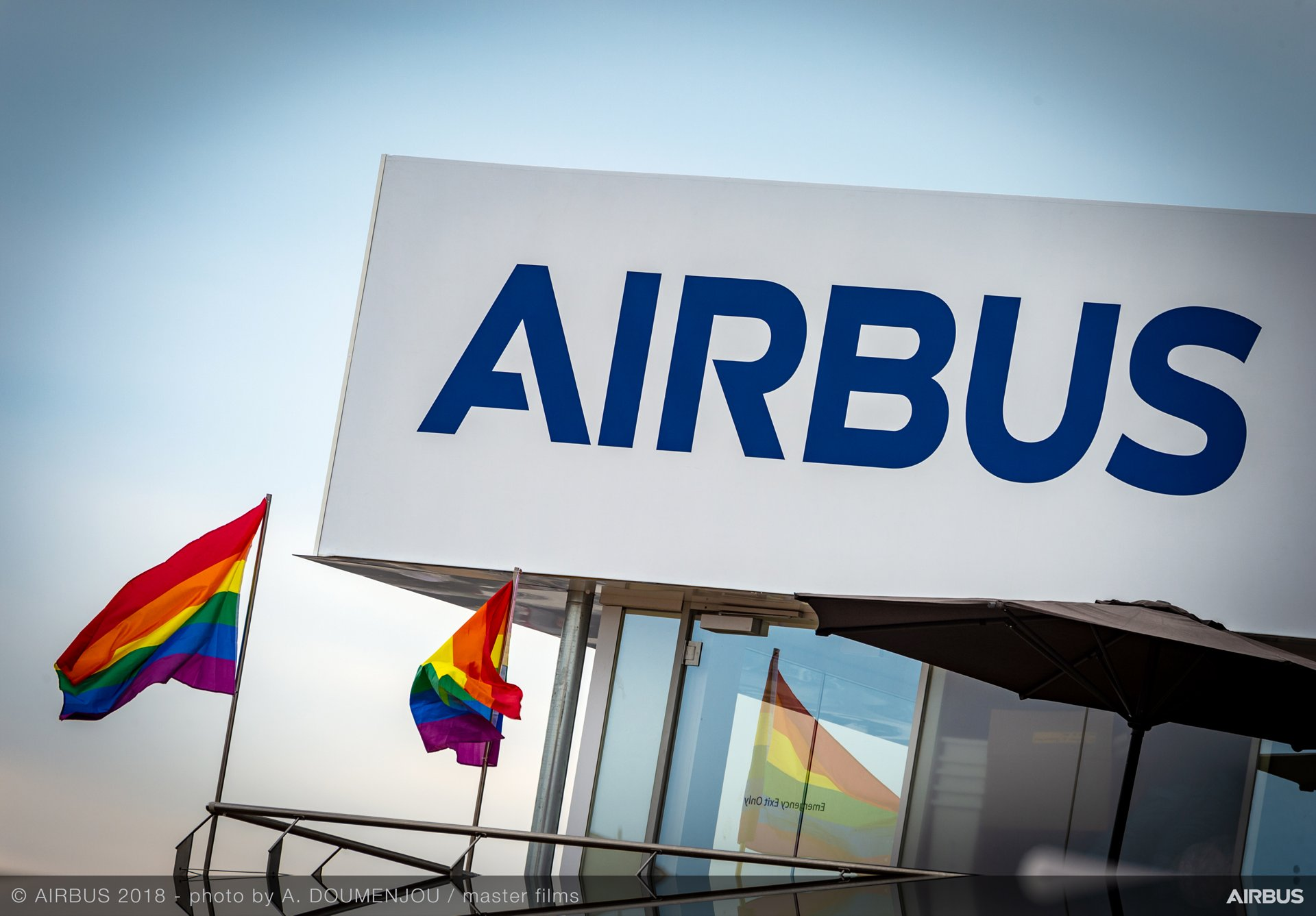 Airbus' pavilion with LGBT flags, at Farnborough Airshow 2018