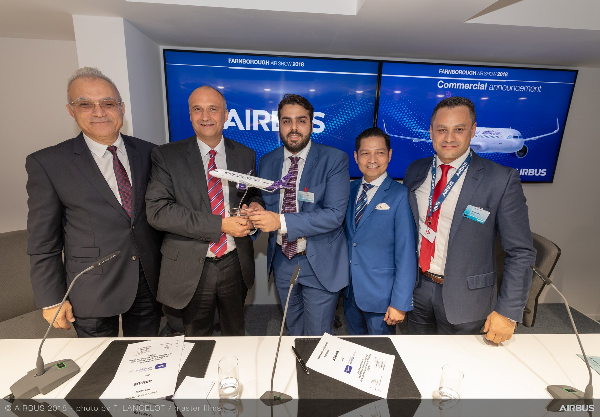 At the 2018 Farnborough Airshow press conference announcing Golden Falcon Aviation's order of 25 Airbus A320neo Family aircraft for Kuwait's Wataniya Airways are Rakan Al-Tuwaijri, Chief Executive Officer of Golden Falcon Aviation (at centre) and Eric Schulz, Airbus Chief Commercial Officer (second from left)