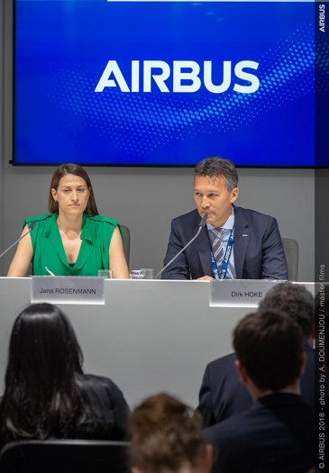 Dirk Hoke and Jana Rosenmann during the Zephyr Press conference at the Farnborough Air Show