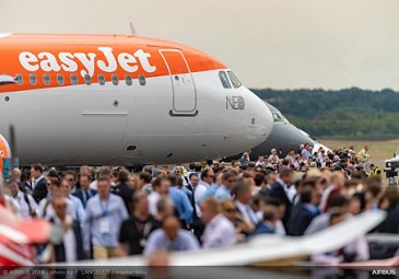 Static display of easyJet A321neo – Farnborough 2018