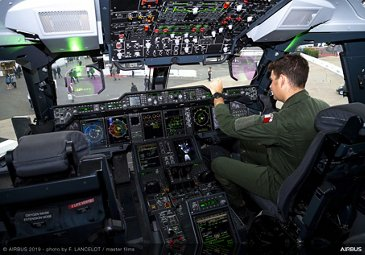 French Air Force pilot in A400M cockpit at the 2019 Paris Airshow - Day 3
