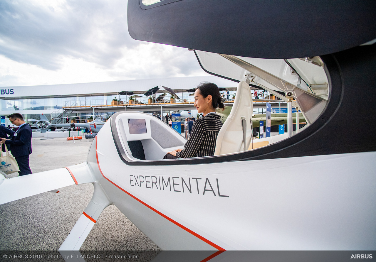 Vahana demonstrator at the 2019 Paris Airshow  Airbus' fully self-piloted Vahana demonstrator vehicle quickly attracted the attention of 2019 Paris Air Show attendees