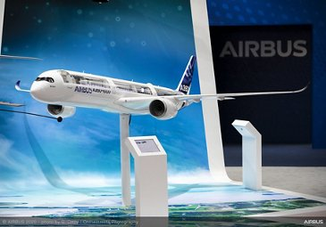 A350-1000 model on exhibit stand - SGAirshow2020
