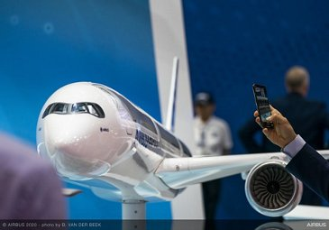 A350-1000 Scale models on exhibit stand - SGAirshow 2020