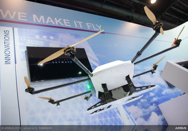 The Project Skyways drone was displayed for the first time at the 2018 Singapore Airshow; this unmanned air delivery system is intended for use in dense urban environments is at an advanced stage of development in collaboration with partners in Singapore.