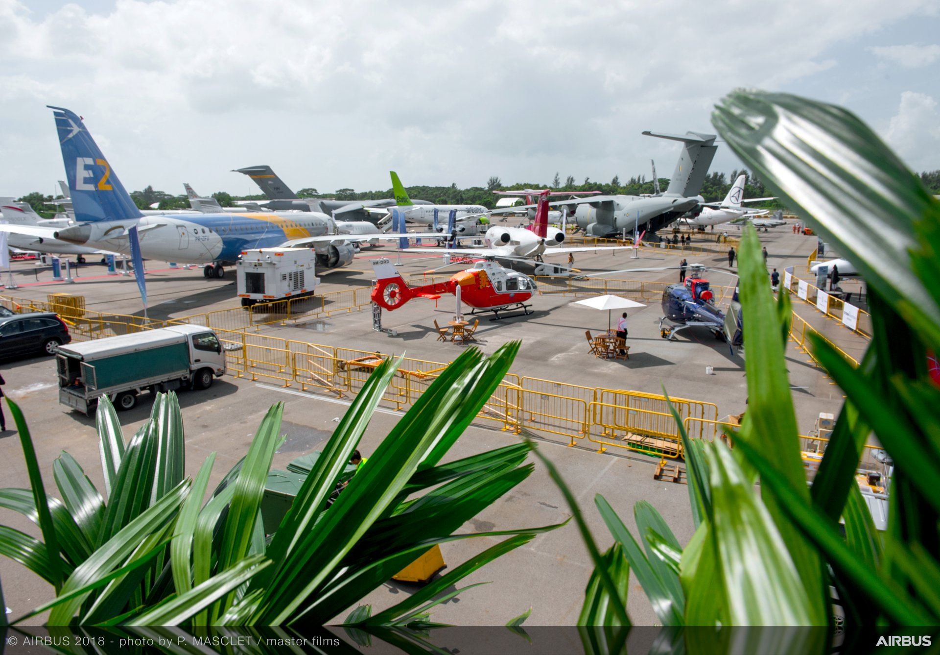 A wide range of Airbus products are on display at the 2018 Singapore Airshow, including the company's newest jetliner – the A350-1000 –  as well as an A400 military airlifter operated by the Royal Malaysian Air Force, and the H130 and H135 helicopters