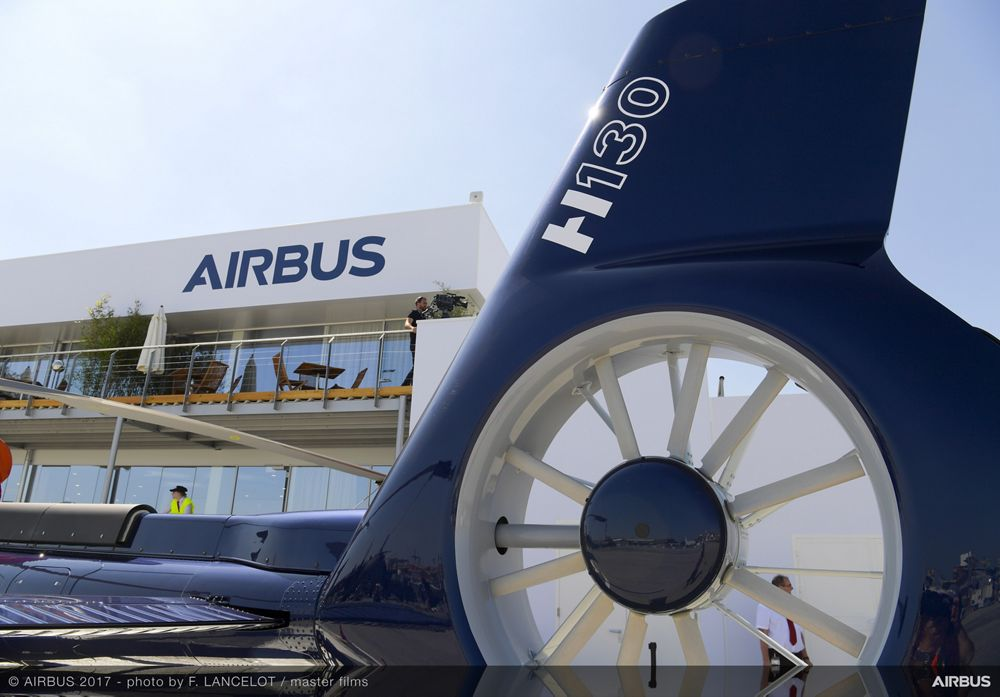 PAS 2017, 18 June: view on Airbus pavilion and H130