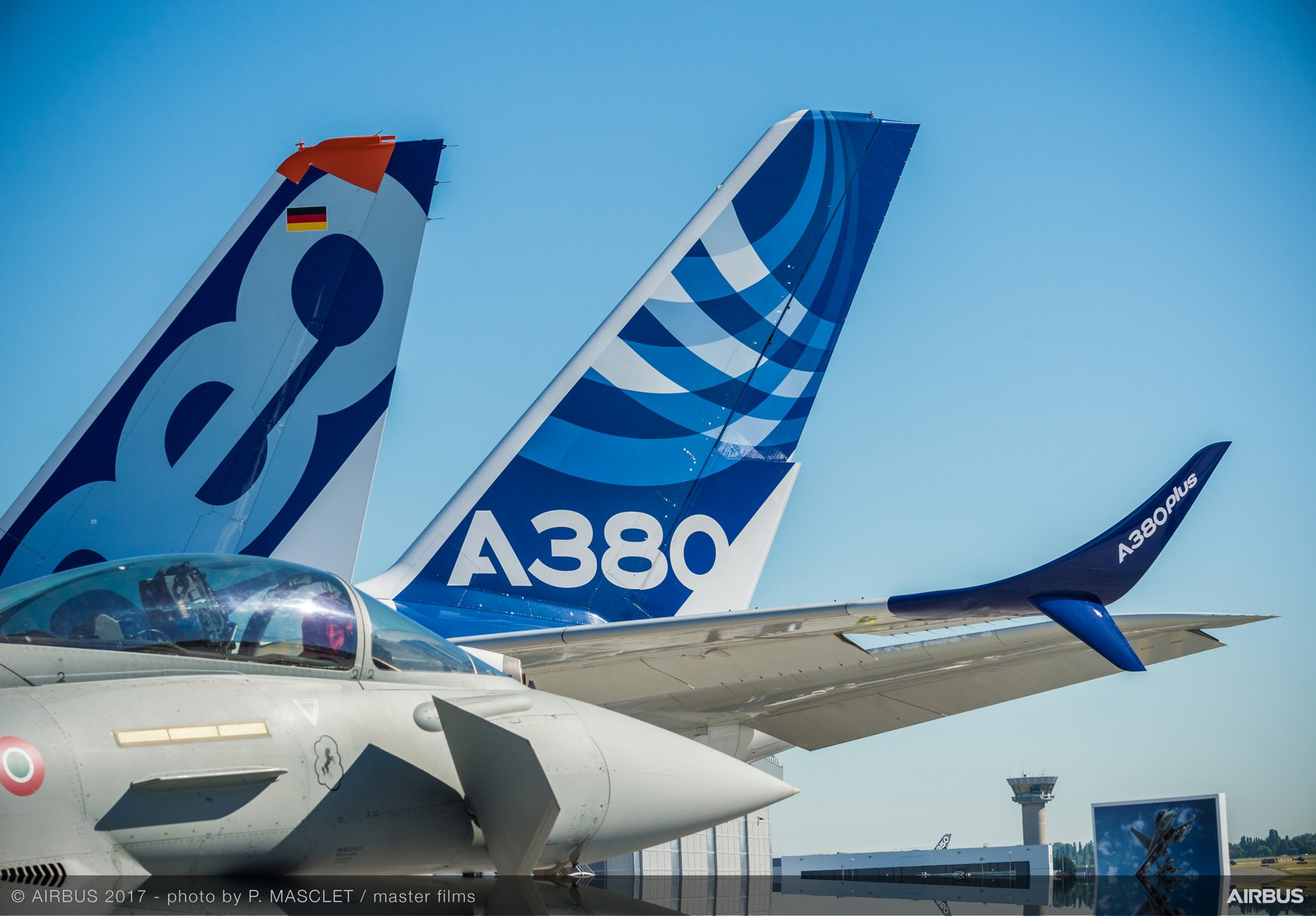 Airbus A321neo, A380 and A380plus at the Paris Air Show 2017 static display