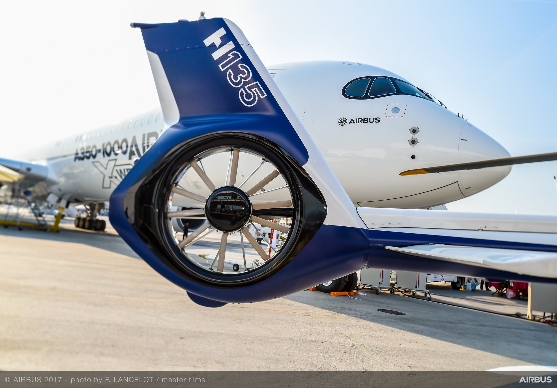 The A350-1000 (background) and H135: with its Fenestron shrouded tail rotor, the H135 is valued for its low acoustic footprint.