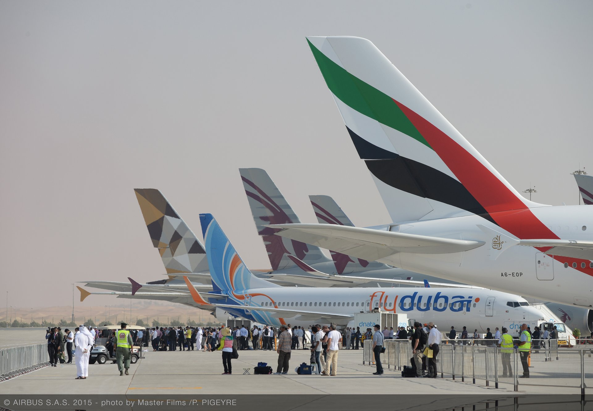 Airbus jetliners drew a steady crowd of visitors on display during the 2015 Dubai Airshow's second day