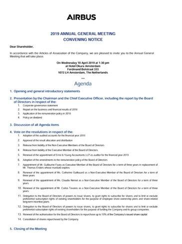Airbus AGM 2019 Convening Notice
