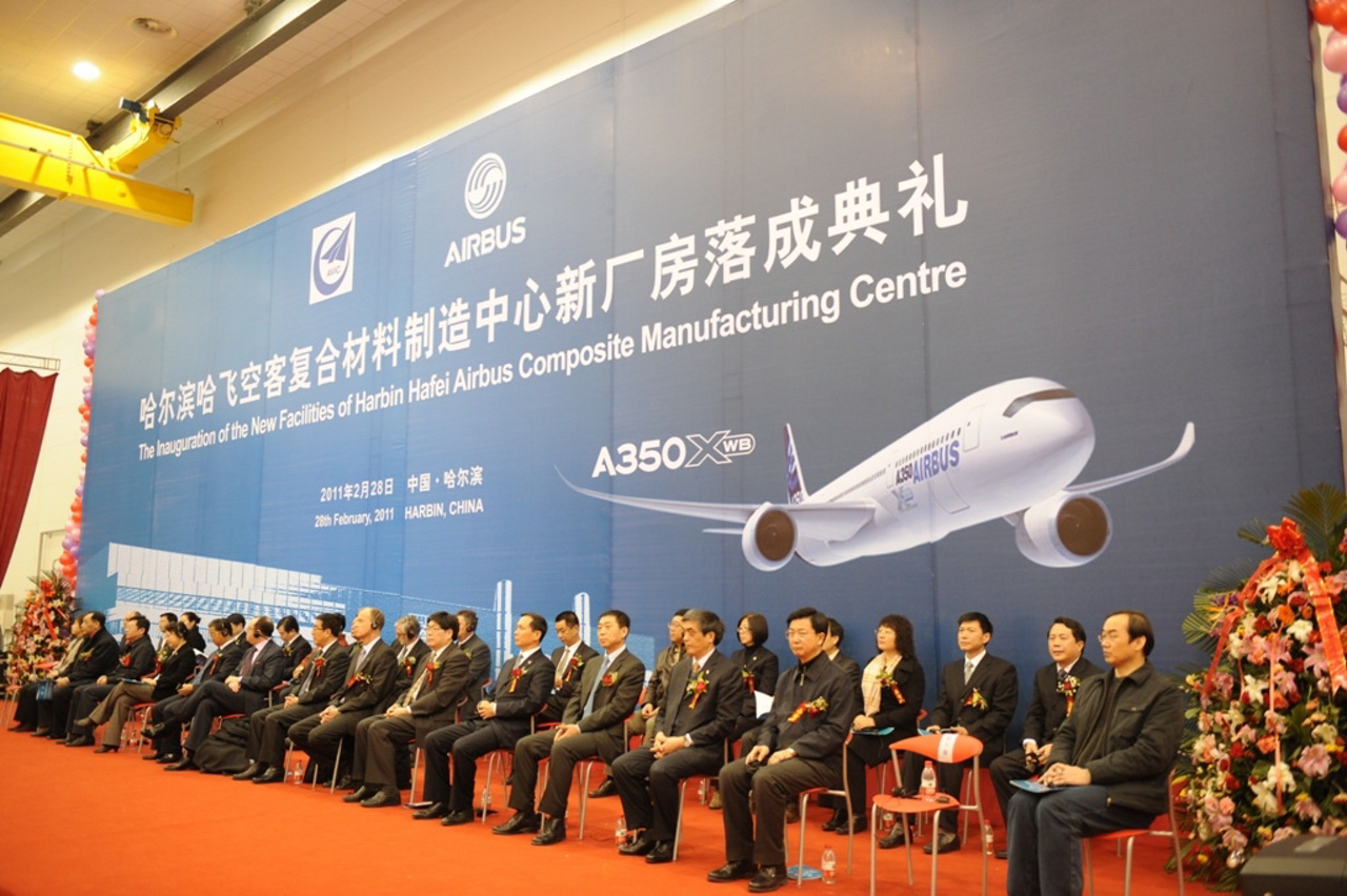 Airbus and its Chinese partners inaugurate the Harbin Hafei Airbus Composite Manufacturing Centre, an eco-efficient joint venture in China which will produce composite parts for the new-generation A350 XWB (28 February 2011)