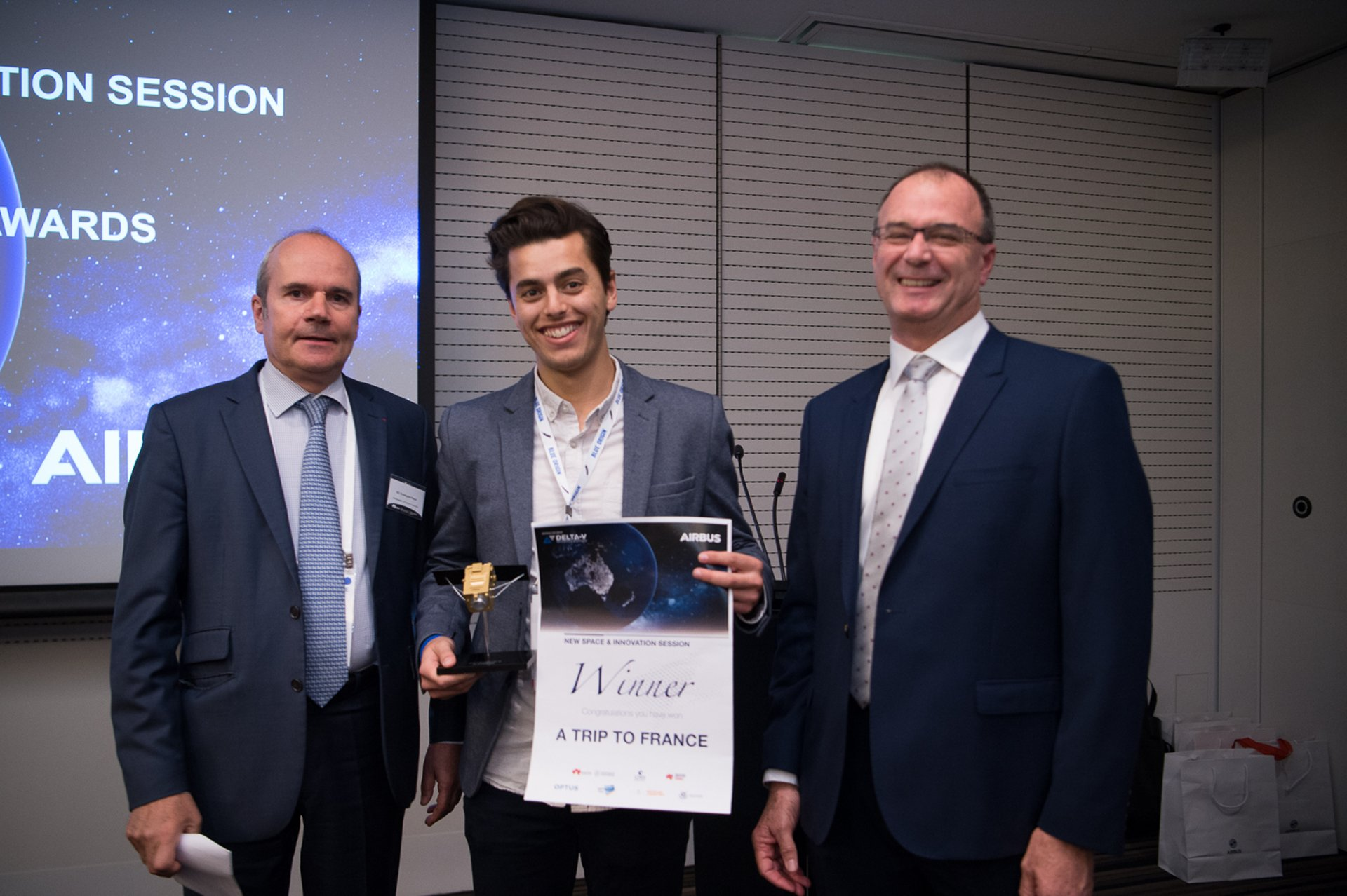 Sebastian Chaoui with the French Ambassador to Australia, H.E. Christophe Penot (left) and Anthony Fraser, Managing Director Airbus Australia Pacific