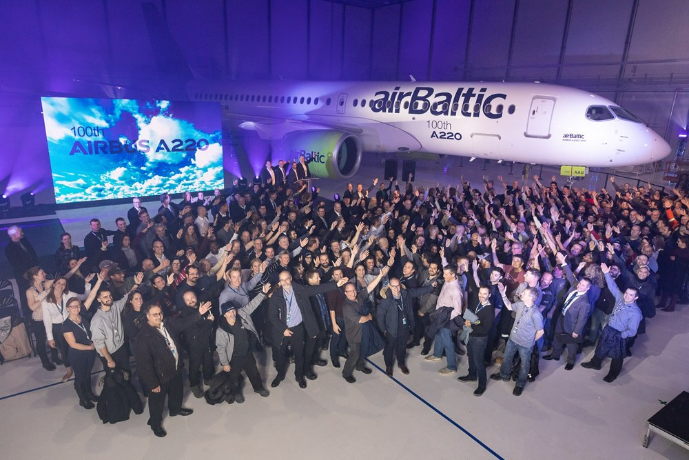 Airbus celebrated the 100th A220 produced for a customer during a ceremony at the aircraft programme's headquarters in Mirabel, Canada, with an A220-300 version for Latvia-based airBaltic serving as the milestone jetliner