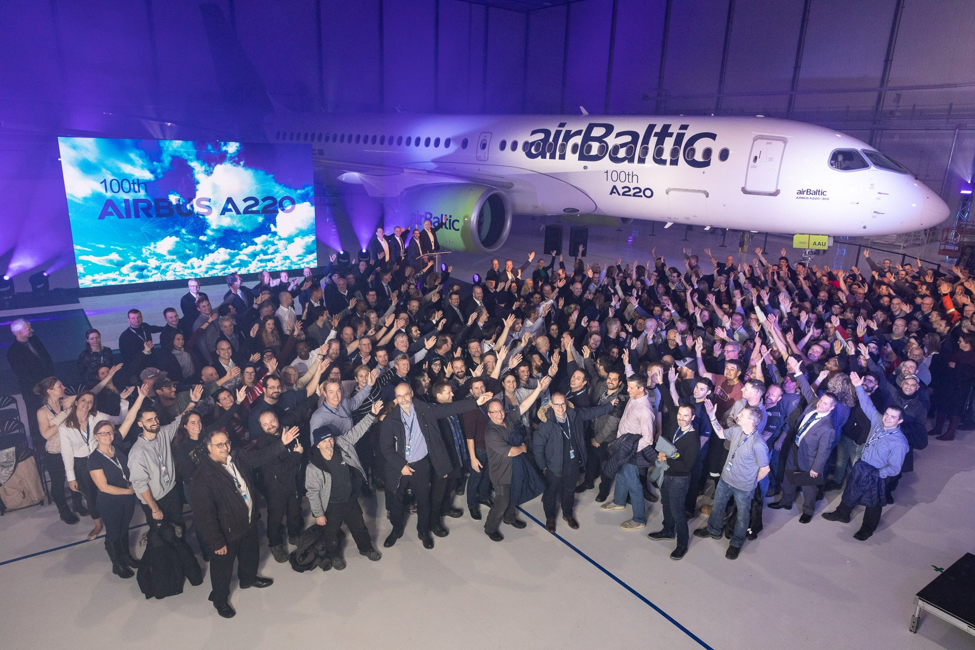 AG真人计划 celebrated the 100th A220 produced for a customer during a ceremony at the aircraft programme鈥檚 headquarters in Mirabel, Canada, with an A220-300 version for Latvia-based airBaltic serving as the milestone jetliner